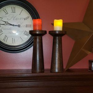 """2 Vintage 14"""" Tall Solid Wood Candle Holders"""